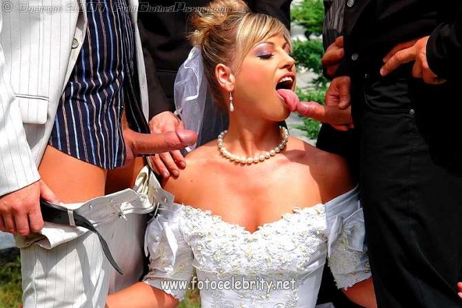 Толпа Мужиков Кончили На Невесту